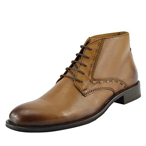 Kick Footwear Herren Hochwertige Leder Wüste Stiefel Lässig-eleganten Akzent Knöchel Schuhe - UK 10 / EU 44, Tan - Knöchel Akzent
