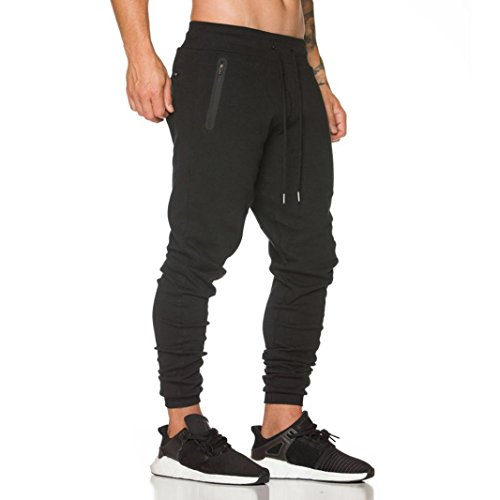 Hffan Herren Casual Hose Lang Frühling Fitness Loose Crotch Hose Hiphop Dance Jogger Sweatpants Baggy Designer Chino Stoff Hose Regular Fit Outdoorhose Freizeithose Stretch Basic pants (Schwarz, M) (Pant Dance Kordelzug)
