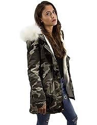 Mega XXL Kunstfell Camouflage Kapuze Damen Army Look Jacke Bonbon Winterjacke Style in 4 tollen Farben