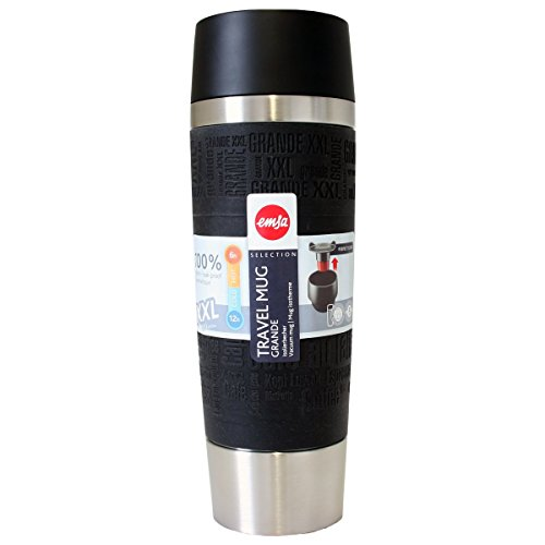 emsa 515618 Emsa Travel Mug Isolierbecher Grande Schwarz 0,5l