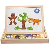لعبة تعليمية لوح رسم اسود خشبي ومغناطيسي متعدد الاستعمالات للاطفال مع قطع صور حيوانات