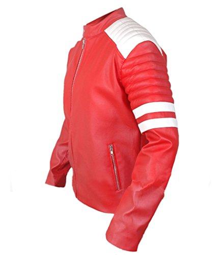 F&H Men's Retro Hybrid Mayhem Cafe Racer Jacket red