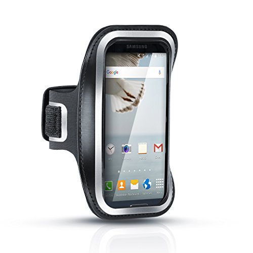 Arendo - Brazalete de deporte Samsung Galaxy S3 / S4 / S5 / HTC One, LG, Huawei etc. resistente al sudor | Repele el agua | Con compartimento para las llaves | Muy cómodo gracias a la longitud regulable | Tiras reflectantes incluidas | Brazalete de deporte en color