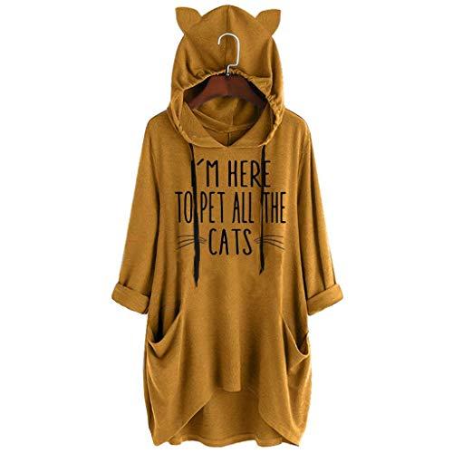 Obestseller,Katzenohren Langarm Hoodies Kapuzenpullover Frauen Beiläufiges Druck Katzen Ohr mit Kapuze Langärmliges Taschen Nnregelmäßiges Spitzenblusen Hemd Hoodie Hooded Sweatshirt Kapuzenjacke -