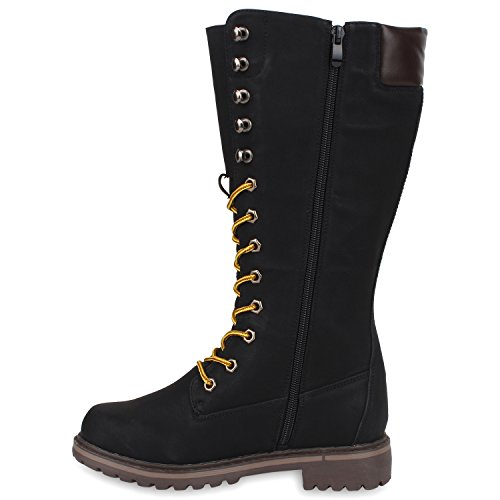 Stiefelparadies Damen Worker Boots Profilsohle Schnürstiefel Karneval Stiefel Fasching Kostüm US Army Soldat Military Boots Flandell Schwarz Braun