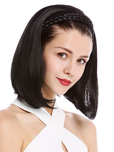 WIG ME UP  - 90606+3-1B Mezza parrucca Toupet Prezioso Cerchietto intrecciato Altezza spalle Lisci Nero