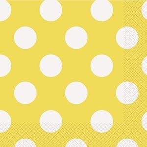 Unique Party -  Servilletas de Papel a Lunares - 16,5 cm - Amarillo - Paquete de 16 (30427)