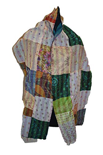 Tribal Asian Textiles Handgefertigter Kantha Work Damen Seidenschal Sari Dupatta