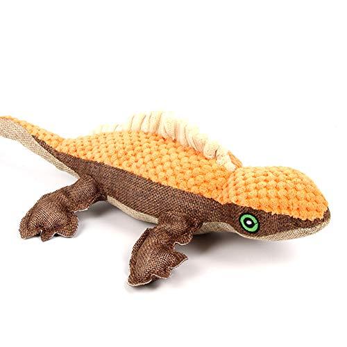Haustier quietschende Spielzeug orange Eidechse Hundewelpen Kauen Zahnreinigung Spielzeug mit Ton-Tierpuppe Hund Quietsche Spielzeug -