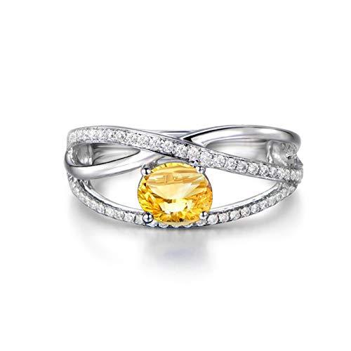 Adisaer argento sterling 925anelli di anniversariodonne forma ovale citrino november birthstone gialla taglia:15