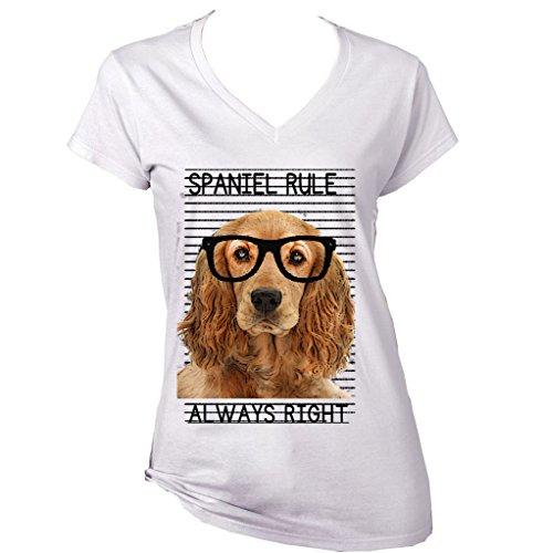 teesquare1st Women's GOLDEN Cocker Spaniel Always Right White T-Shirt Size Medium