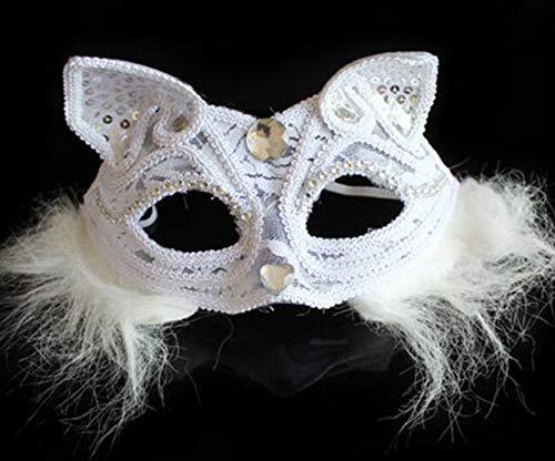 Halloween Fox Maske Katze Halbes Gesicht Erwachsene Augenmaske Spitze Und Wind Cos Anime Sex Cat Woman - Weiß (Womens Geheimnisvolle Maskerade Kostüm)