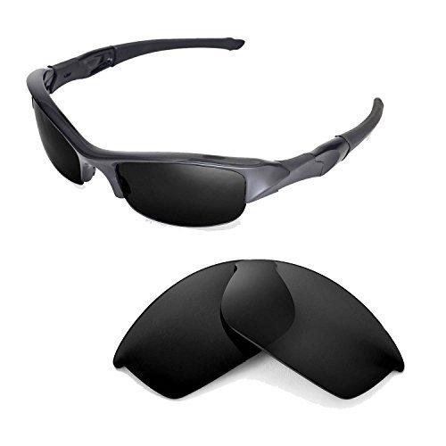 Walleva Ersatzgläser für Oakley Flak Jacket Sonnenbrille -Mehrfache Optionen (Schwarz - polarisiert)