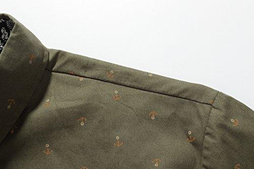 SSLR Herren Freizeit Straight Fit Printing Casual Kurzarm Hemd Olivgrün
