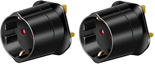 Brennenstuhl Viaje Adaptador y conector de protección de contacto para GB Negro, 1508533(2)