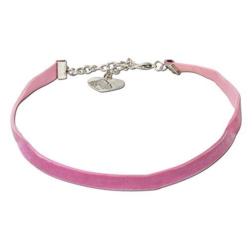 Alpenflüstern Trachten-Samt-Kropfband elastisch - Trachtenkette enganliegend, Velvet Kropfkette, Damen-Trachtenschmuck, Samtkropfband schmal rosé-rosa DHK076
