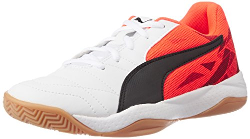Puma Unisex-Kinder Veloz Indoor III Jr Hallenschuhe, Weiß (White-Black-Red Blast 02), 31 EU (Puma Collection Red)