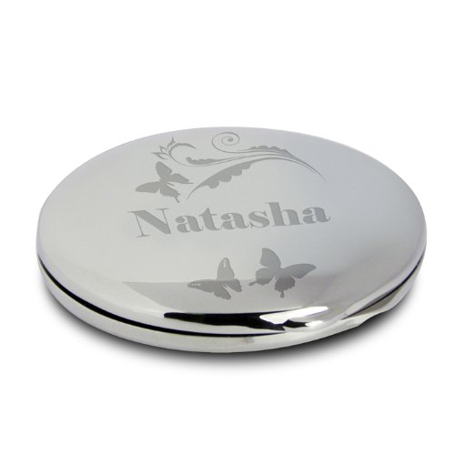 Personalised Compact Mirror And Pouch Butterfly Swirl Design by C.P.M.