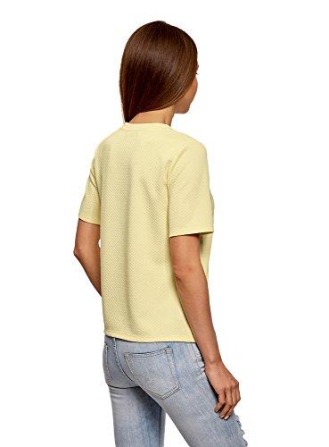 oodji Ultra Damen Bedrucktes Gerades T-Shirt Gelb (5000N)