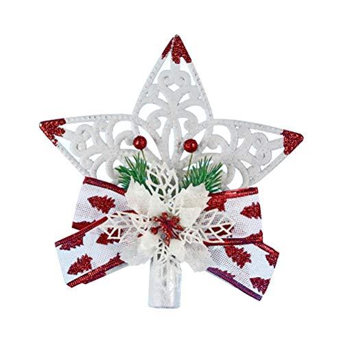 YeahiBaby Weihnachtsbaum Spitze Weihnachtsbaum Stern Schneeflocke mit Schleifen Glitter Weihnachtsbaum Deko (Weiß und Rot) -