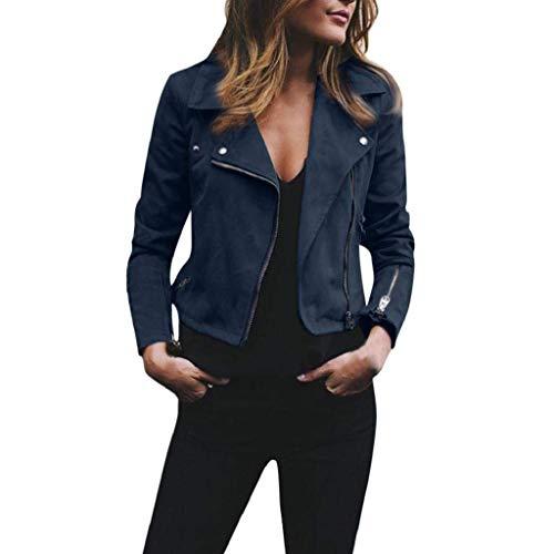 ShallGood Damen Kurz Jacke Lederjacke Casual Damenjacke Bikerjacke Pilotenjacke Frauen Retro Rivet Reißverschluss Oben Bomberjacke Cool...