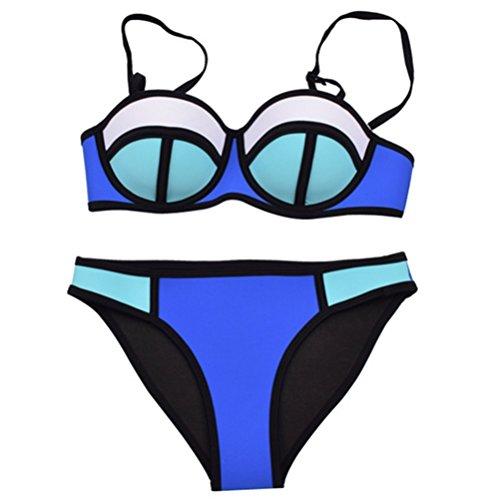 feifei Moda Femminile Bikini, Costume da Bagno in Neoprene, Bikini di Gomma, Costumi da Bagno Beach-a S