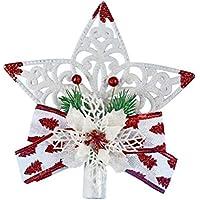 YeahiBaby Topper Sapin de Noel Étoile Noël Decoration Topper avec Fleur et Noeud Papillon Flocon De Neige Suspension de Noel Decoration Arbre de Noel