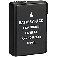 BPS EN-EL14 EN-EL14a Batterie de Remplacement, Batterie Rechargeable pour Nikon D3100 D3200 D3300 D5100 D5200 D5300 D5500 DSLR Camera, Coolpix P7000 P7100 P7700 P7800 & Battery Grip BG-2G & Battery Charger MH-24