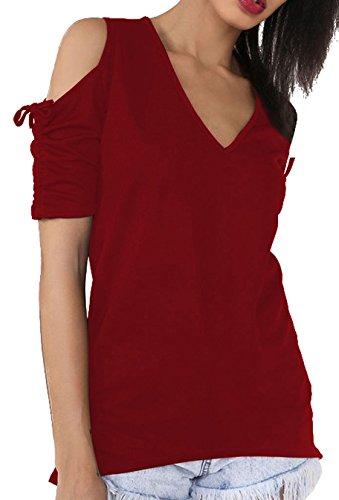 Weiblich Mode V-Kragen Trägerlose Kurze Ärmel Kordelzug Einfarbig T-shirt Rot