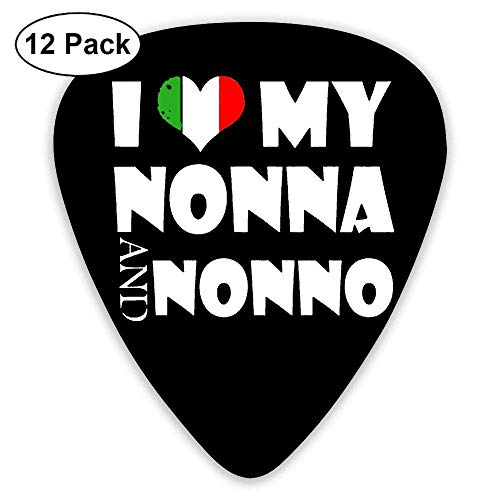 Love My Nonna Italy Heart 351 Shape Classic Picks 12 Pack For Electric Guitar Acoustic Mandolin Bass