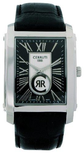 Cerruti 1881 Firenze CRB011A212B - Reloj de caballero de cuarzo, correa de piel color negro