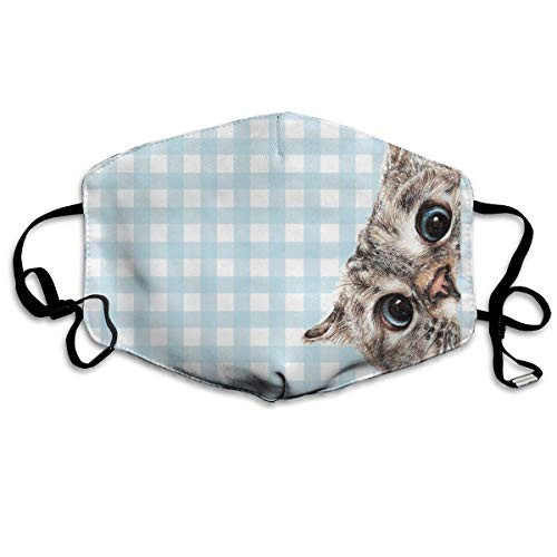 ferfgrg Cat Check Pattern Unisex Face Mask Ear-Loop Mouth Muffle Reusable Mask for Men Women