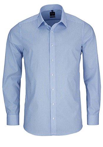 OLYMP Herren Hemd Level 5 Body Fit Langarm, SH Streifen hellblau, 39