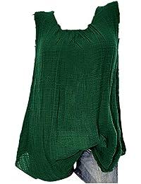 VECDY Blusas para Mujer Elegantes Tallas Grandes, Camiseta Sin Mangas Holgada del Chaleco Algodon Lino