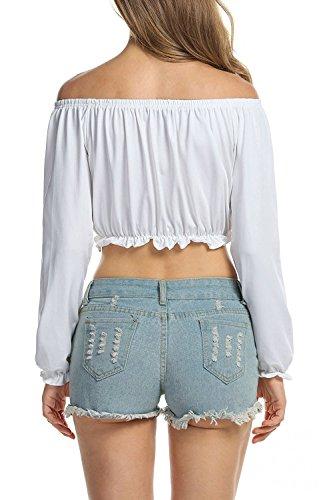 Frauen-Elegant aus der Schulter T Shirts White