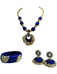 Sarpi Crafts Golden & Blue Silk Thread Necklace Set For Women