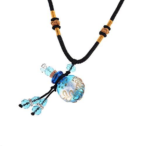 Bouteille en verre bleu main circulaire plat pouvant etre ouvert pendentif longueur reglable diffuseur aromatique 45cm-60cm-1
