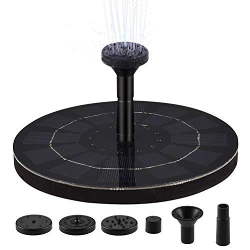 LEDGLE Bomba de Fuente Solar, Bomba de Agua con Energía Solar con Mono-cristalino y Modo de 4 Boquillas para el Tanque de Peces de Estanque Pequeño, para jardín y para baño de Aves, 1.8W, 180 L/H