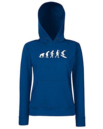 T-Shirtshock - Sweats a capuche Femme EVO0056 Surfing Evolution Humor Maglietta Bleu Navy