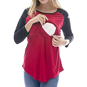 STRIR-Camisetas-Mujer-Manga-Larga-Lactancia-Maternidad-Enfermeria-CamisasCamiseta-de-Mujer-Maternidad-de-Doble-Capa-premam-Lactancia-Blusa-de-Manga-Larga-Lactancia-Top-XXL-Rojo-B