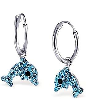 GH1a Blau Kristall Delfin Creolen Ohrringe 925 Echt Silber Mädchen Damen Ohrhänger Delphin