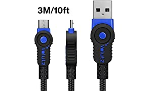 Volutz Micro USB Cable 3m Extra Long Charging Cable for PS4 Controller, Braided Durable Fast Charger Lead for Samsung Galaxy S6 S7, HTC, Sony, LG, Kindle, Xbox - 3M BLUE