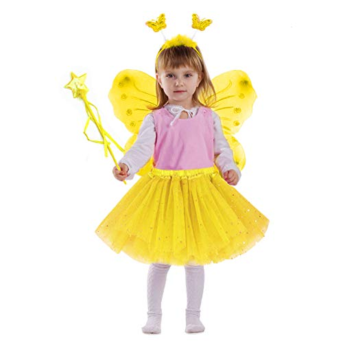Tutu Tanz Kostüm - EQLEF Fee Kostüm Kinder, Tutu und Flügel Set Schmetterlingsflügel Fee Prinzessin Kostüm für Mädchen Party Kostüm (Gelb)