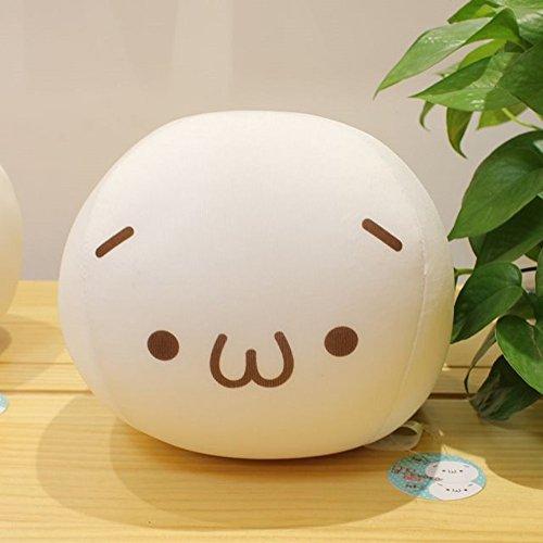 ChezMax 20cm Niedlich Spandex Dekorative Dekokissen für Home Office Sofa Gefüllte Spielzeug Rücken Kissen Kreative Weiße Kaomoji Puppe für Kinder