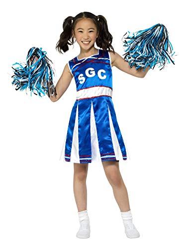 Smiffys SMIFFY 'S weiß M Cheerleader Kostüm, Mädchen, Blau, m-uk Alter 7-9Yrs (Blau Cheerleader Kostüm)