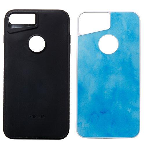 iPhone 8 Plus Hülle,iPhone 7 Plus Hülle,Handyhülle iPhone 8 Plus / 7 Plus Silikon Hülle,ikasus® [Heavy Duty Serie] Marble Marmor Muster Hybrid Outdoor Dual Layer Armor Hülle Case Handy Schutzhülle für Blau