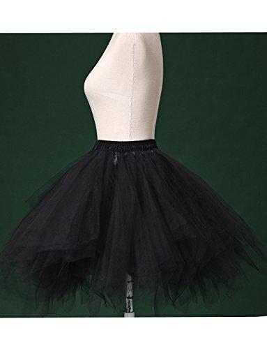 BeiQianE Frauen 50er Jahre Vintage Petticoat Multi-Layer-Short Unterrock rutscht Krinoline Ballett Bubble Tutu Rock Rot
