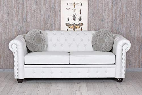 Chesterfield Sofa Weiss Clubsofa Couch Eco-Leder englisches Sofa Sitzbank Palazzo Exklusiv