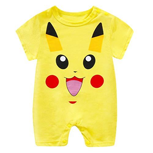 Baby Junge Neugeborenen Totoro Strampler Unisex Baby Pikachu Playsuit Sommer Outfits Strampelanzug Sunsuit (Pikachu,66cm) (Pikachu Strampelanzug Kostüm)