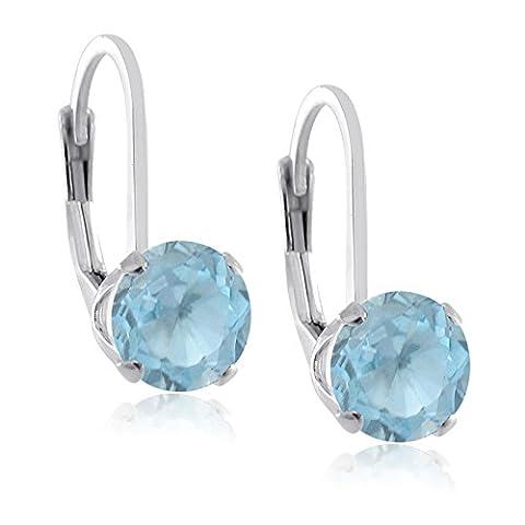 Kezef Sterling Silver .925 Prong Set Round 6mm Genuine Sky Blue Topaz Birthstone Gemstone LeverBack Earrings